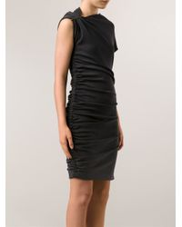 Lanvin - Gray Fitted Drape Dress - Lyst
