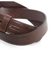 Armani Jeans - Brown Leather Logo Belt for Men - Lyst