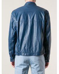Zegna Sport - Blue Biker Style Jacket for Men - Lyst