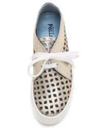 Studio Pollini - Metallic Laser Cut Sneakers - Gold - Lyst