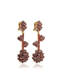 Oscar de la Renta | Metallic Crystal Flower Drop Earrings | Lyst