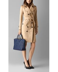 Burberry | Blue Medium Embossed Check Leather Tote Bag | Lyst