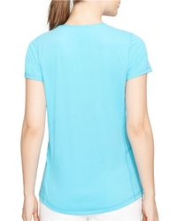 Lauren by Ralph Lauren | Blue Crew-Neck Active Tee | Lyst