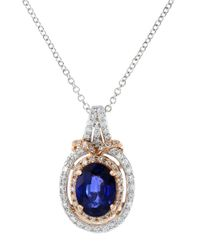 Effy - Blue 14k White And Rose Gold Sapphire And Diamond Pendant Necklace - Lyst