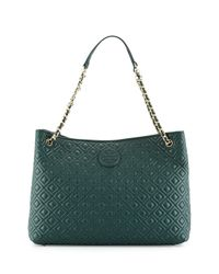 Tory Burch - Green Marion Quilted Tote - Lyst