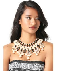 Bebe - Black Pearlescent Bib Necklace - Lyst