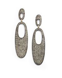 Bavna - Metallic 63 Tcw Pavã Diamond Blackened Sterling Silver Open Oval Drop Earrings - Lyst