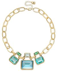 Lauren by Ralph Lauren | Blue Gold-Tone Large Faceted Bezel Set Stone Necklace | Lyst