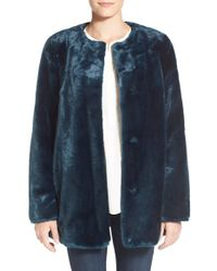 Vince Camuto | Blue Faux Fur Jacket | Lyst