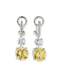 Fantasia by Deserio | White Canary/clear Cubic Zirconia Drop Earrings | Lyst