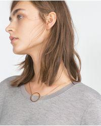 Zara   Gray Top With Side Stripe   Lyst
