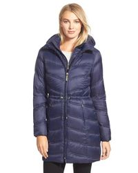Ellen Tracy | Blue Vest Front Down Coat | Lyst