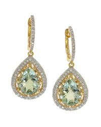 Effy | Green Amethyst, Diamond And 14k Yellow Gold Drop Earrings, 0.55 Tcw | Lyst