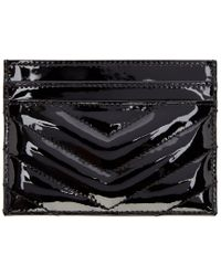 Saint Laurent | Black Patent Monogram Card Holder | Lyst