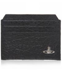 Vivienne Westwood | Black Cracked Leather Orb Card Holder for Men | Lyst