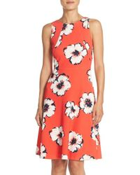 Lyst Ivanka Trump Bullet Floral Knit Fit And Flare Dress