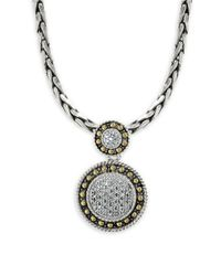 Effy | Metallic 18k Yellow Gold, 925 Sterling Silver And Diamond Pendant Necklace | Lyst