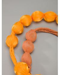 Pleats Please Issey Miyake - Orange Covered Bead Necklace - Lyst