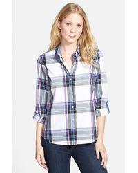 Foxcroft - Blue Twill Tartan Roll Sleeve Shirt - Lyst