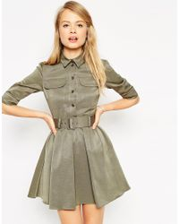 ASOS | Natural Military Belted Skater Dress | Lyst