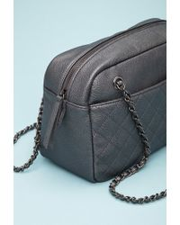 Forever 21 - Black Quilted Faux Leather Shoulder Bag - Lyst