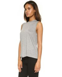 T By Alexander Wang - Gray Classic High Neck Flared Tank - Lyst