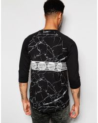 Pink Dolphin - Black 3/4 Sleeve T-shirt In Marble Print With Raglan Sleeves for Men - Lyst