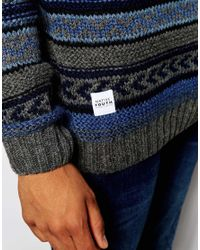 Native Youth - Blue Winter Fisherman Knit Jumper for Men - Lyst