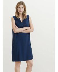 Violeta by Mango - Blue Satin Panel Dress - Lyst