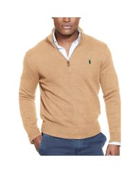Polo Ralph Lauren | Brown Half-zip Cotton Sweater for Men | Lyst
