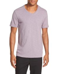 Vince - Purple Slub V-neck T-shirt for Men - Lyst