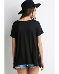 Forever 21 | Black Cuffed-sleeve Boxy Top | Lyst