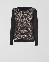 Jaeger - Black Lace Front Sweater - Lyst