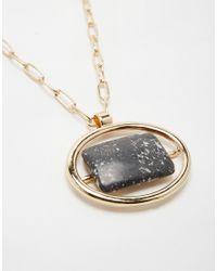 ASOS - Metallic Semi Precious Doorknocker Long Pendant Necklace - Lyst