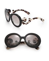 Prada - Black 55mm Round Sunglasses - Lyst