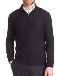 Isaia - Black Cashmere Half-zip Pullover for Men - Lyst