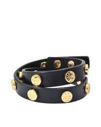 Tory Burch | Blue Double Wrap Logo Stud Bracelet | Lyst
