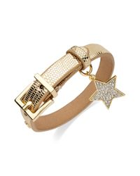 Juicy Couture | Metallic Goldtone Crystal Star Leather Bracelet | Lyst