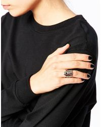 KENZO - Pink Rose Gold Plated Tiger Laquer Ring - Lyst