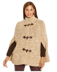 Michael Kors | Natural Michael Plus Size Mock Turtleneck Poncho Sweater | Lyst