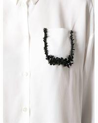 N°21 - White Embellished Pocket Blouse - Lyst