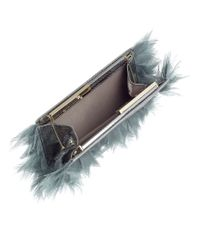 Jimmy Choo - Tux Silver Metallic Watersnake With Fabric Feather Embroidery Clutch Bag - Lyst