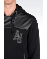 Armani Jeans - Black Full Zip Sweatshirt With Hood for Men - Lyst