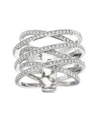 Michael Kors - Metallic Pave Crisscross Ring - Lyst