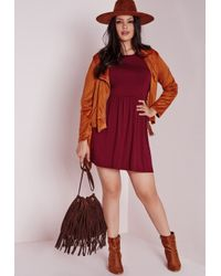 Missguided | Purple Plus Size Jersey T-shirt Skater Dress Burgundy | Lyst