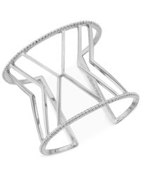 Vince Camuto | Metallic Silver-Tone Chevron Cuff Bracelet | Lyst
