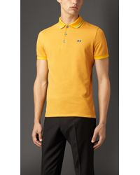 Burberry - Yellow Contrast Tipping Detail Polo Shirt for Men - Lyst