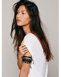 Free People - Black Beaded Leather Stacking Set - Lyst