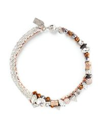 Assad Mounser | Metallic 'tania' Rhinestone Pavé Swarovski Gem Necklace | Lyst
