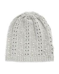 Lauren by Ralph Lauren | Gray Embellished Knit Hat | Lyst